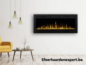 Brede elektrische inbouwhaard onder TV met led en verwarming