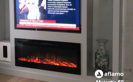 brede sfeerhaard elektrische vuur televisie boven haardvuur