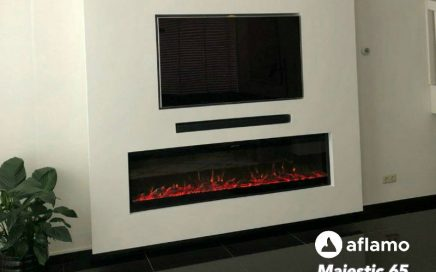 elektrische inbouwhaard met verwarming onder televisie tv wandhaard